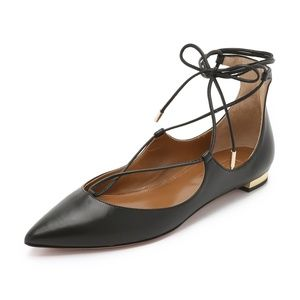 Aquazzura Christy Black Leather Lace Up Flats 38.5